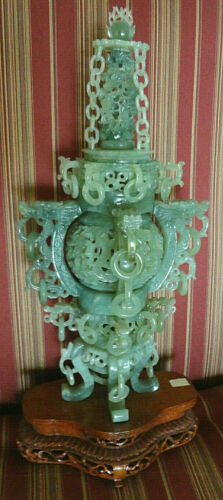 Serpentine Stone Carved Ball & Dragon Head Incense Burner w/Wood Stand ~ Perfect
