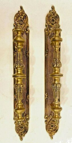 Pair Vintage Heavy Brass Door Push Pull Handles Spain