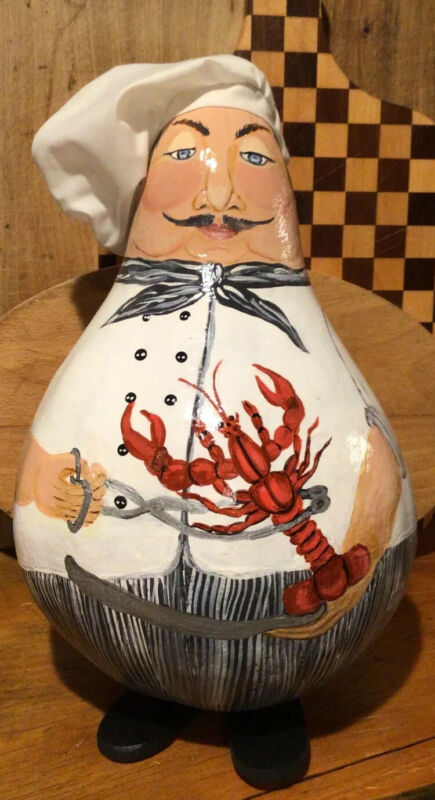 Unique Hand Painted Lobster Chef Gourd - Signed