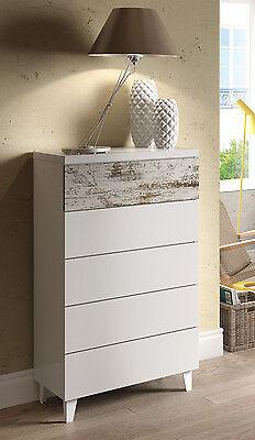 Cómoda dormitorio de 118x61x40cm con 5 cajones Nordika vintage en color blanco