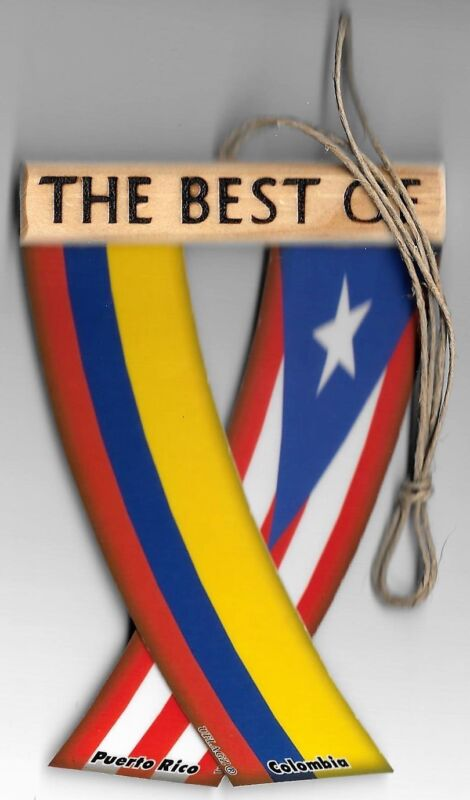 Rear view mirror car flags Colombia and Puerto Rico unity flagz for inside car