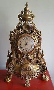 Replica Antique French Mantle Clock Ornate Gold Queanbeyan Area Preview