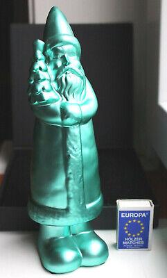 grün türkis Keramik Weihnachtsmann 25cm glänzend Figur Deko Weihnachten