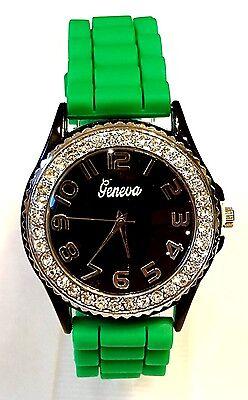 Team School Spirit Green Silicone Band Watch Black Face Rhinestone Silver