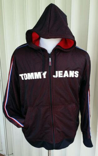 Tommy Hilfiger Trainingsjacke L Rot Blau Trikot Kapuzenpulli Polo Fleece Sport