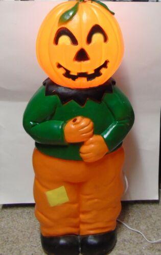 Vintage Union Product Pumpkin Man Blow Mold Halloween Lighted Figure u481