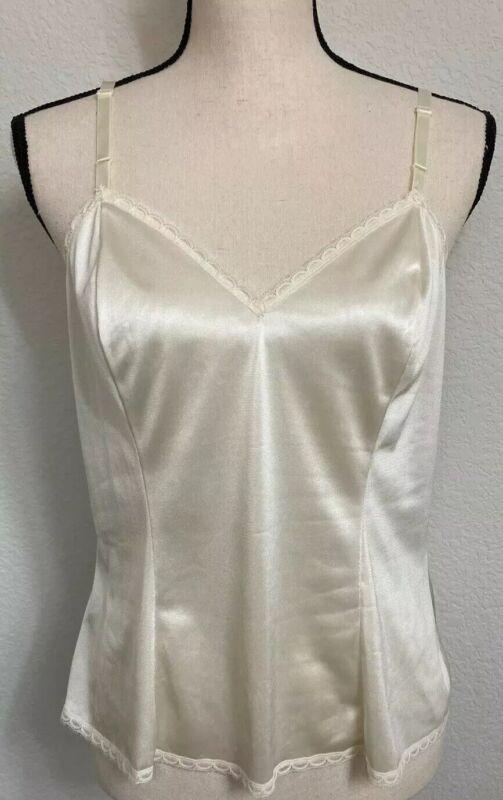 VTG Adonna For J.C. Penny White Nylon Camisole Lingerie/Top W/ Lace - Size 36