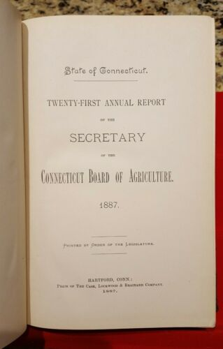 1887 Connecticut Board of Agriculture 21st Annual Report; medal award research