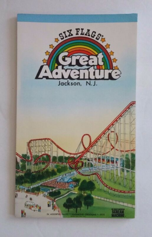 Vintage Six Flags Great Adventure Stationary Notepad Theme Park Souvenir 21 Page