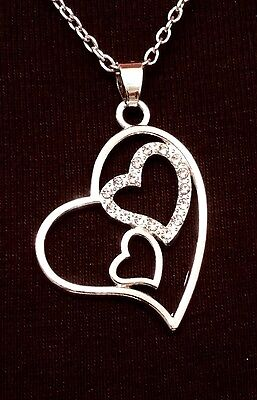 Crystal Open Heart Necklace - Natural Crystal Triple Open Heart Pendant Necklace, 11