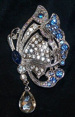 Rhinestone Butterfly Pin Brooch-Dangle Stone-Signed Monet-New in Gift Box