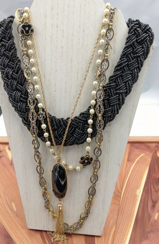 FASHION NECKLACE Lot Wear Resell Repurpose Gold Tone Faux Pearl Black Beads