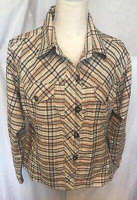 Maurices Multi Colored Plaid Button Up Long Sleeve Shirt Jacket Size L