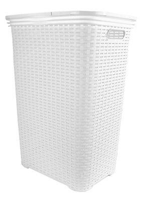 Wäschekorb Rattan Kunststoff Box Truhe Sammler Tonne eckig mit Deckel weiß 65L