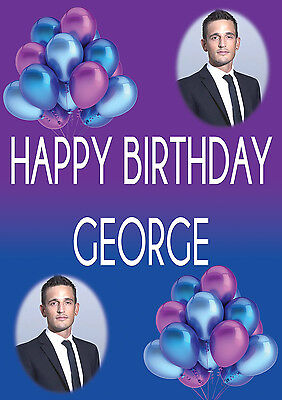 LARGE BIRTHDAY POSTER BANNER PERSONALISED ANY COLOUR NAME THEME TEXT WITH PHOTO