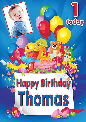 LARGE CHILDRENS BIRTHDAY POSTER BANNER PERSONALISED ANY NAME TEXT WITH PHOTO