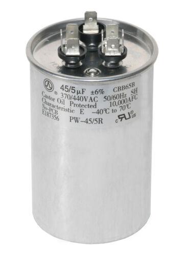 45/5 MFD uf Dual Run Capacitor 370 OR 440 VAC AC 45 5 Carrier HCKS450D050R440Z