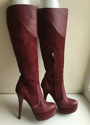 FENDI Fendista boot 37 (US7) Platform140, SuedeLeather,Marsala,Authentic $1400