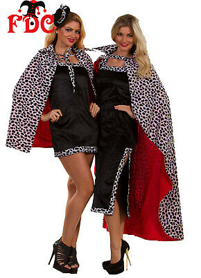 Cruella Deville Cruella De Vil Cloak with Collar Cape Dalmatian Print Faux Fur
