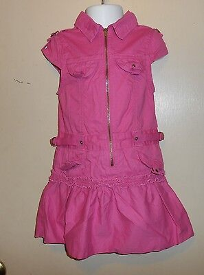 The Childrens Place Girls Cap Sleeve Front Zip Cargo Dress Pink Four  4  Nwt