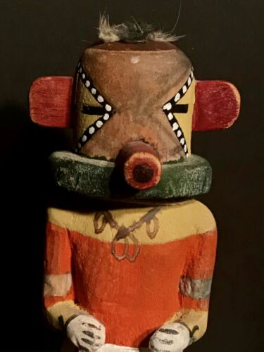 HOPI CARVED COTTONWOOD ROOT & TEMPERA PAINTED RUGAN KACHINA DOLL,EXCELLENT,C1930