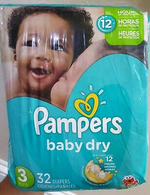 Pampers Baby Dry Diapers Size 3 - 32 Count Pack - Sesame Street Design Open