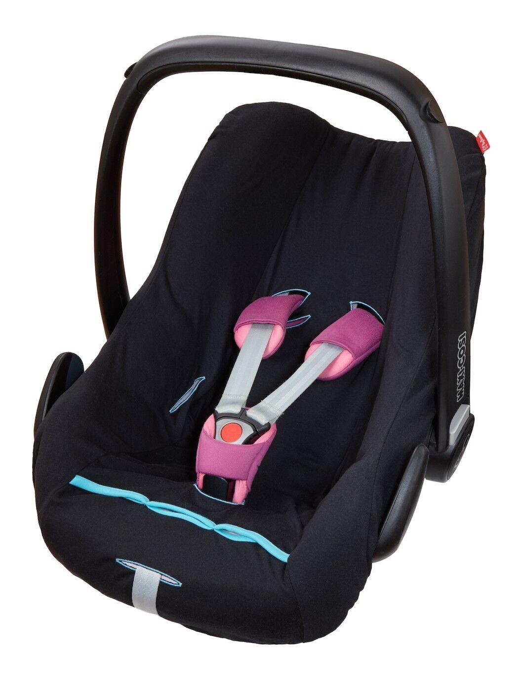 ByBoom® Universal Baumwoll Sommerbezug, Schonbezug für Babyschale z.B. Maxi Cosi Schwarz/Aqua
