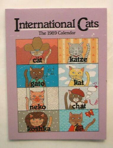 CAT INTERNATIONAL CALENDAR 1989 PAPER BOOKLET FELINE KITTY KITTEN GATO NEKO KAT