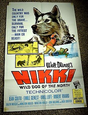1961 Walt Disney Nikki Dog Of The North Original 1-Sheet Movie Poster 27 X 41