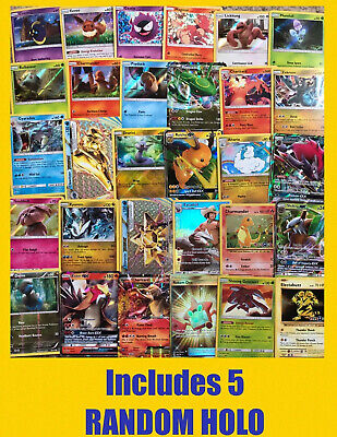 Pokemon Bulk Lot 100 cards~GUARANTEED 10 RARES & 5 HOLO~No Duplicates~FREE SHIP