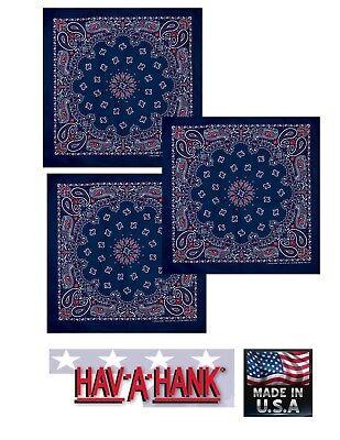 3-usa Made Rot,Weiß & Blau Kopftuch Paisley Schal Stirnband Halsband Taschentuch ()