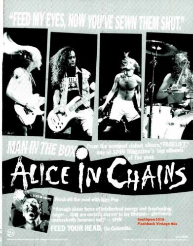 "1990 Alice In Chains ""Man In The Box""  Song Promo Release Vintage Ad Print"