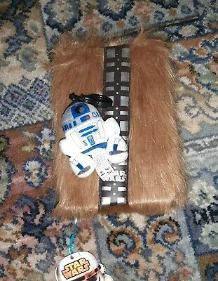 Star Wars Chewbacca Furry A5 Notebook & R2D2 Plush Bag Accessory Keyring