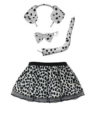 Cruella Devil Pleated Tutu Skirt with Ears Tail & Bowtie (Cruella Devil)