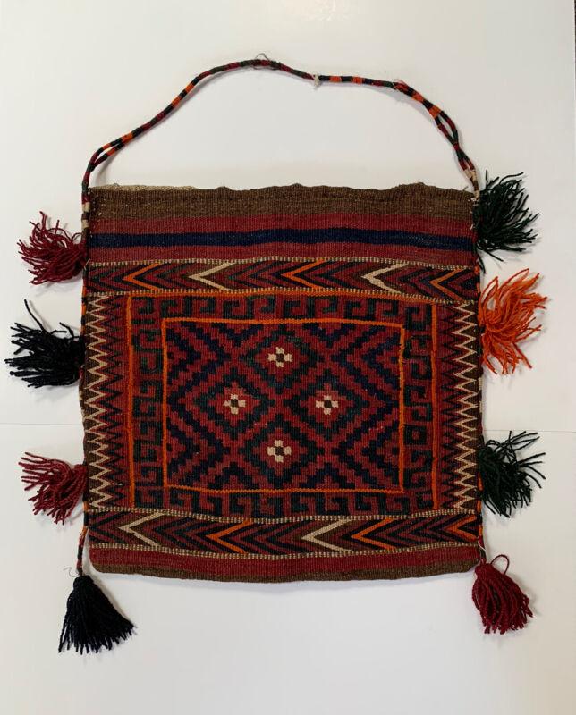 Antique Kilim Wool Bag Purse Shepard Persian Afghan Woven Rug Nomadic Turkish