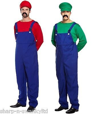 80s Costumes For Couples (Mens Adult Super Mario AND Luigi Plumber 80s Couples Fancy Dress Costumes)