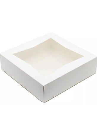 Pie Bakery Box 8 X 8 X 2 12 White Auto-popup With A Window - 25 Pieces