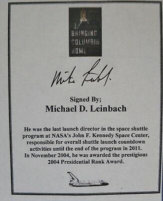 NASA Engineer Michael D Leinbach hand signed bookplate Free P&P
