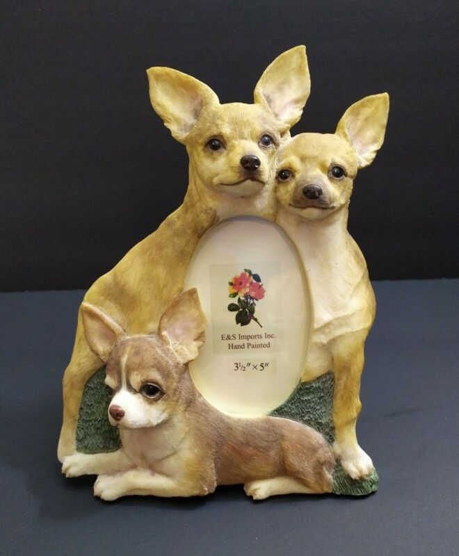 """3 Dogs Chihuahua Tan resin Picture Photo Frame 2.5x3.5in- 10""""h"""