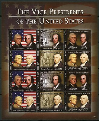 LIBERIA  2018 THE 3rd & 4th  VICE PRESIDENTS OF THE UNITED STATES SHEET  MINT NH