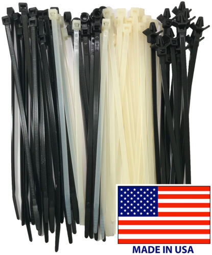 """Black Nylon Cable Ties 4"""" - 48"""" Inch Wire Zip Wrap UL - Choose Type & Size - USA"""