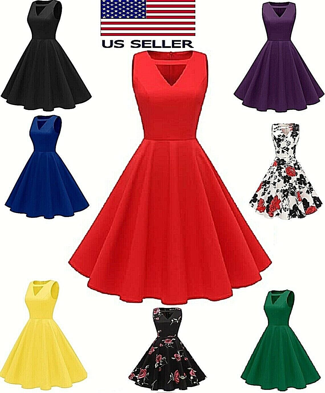 Women's Vintage 1950s Retro Rockabilly Cocktail Party V Neck Swing Dress FASHION Clothing, Shoes & Accessories