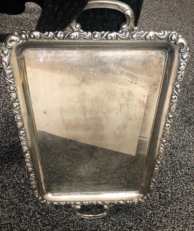 """Alpacca EH Serving Tray Large Handled Silver Platter  26"""" Rose Pattern Heavy"""
