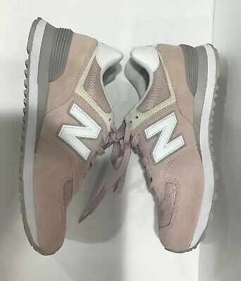 New Balance Women's 574 Classic Sneaker Pink/White Leather Suede LaceUp Shoe 9.5