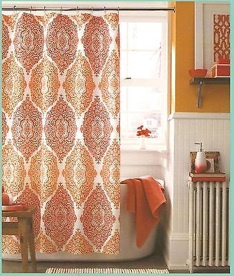 J Queen New York Shower Curtain Roma Dark Orange Sienna Bathroom