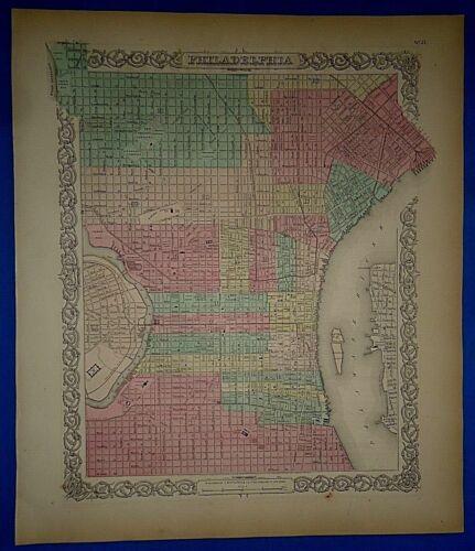 Vintage 1857 PHILADELPHIA Map - Old Original Hand Colored Colton
