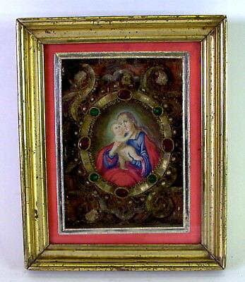 Biedermeier Klosterarbeit im Waschgoldrahmen - Aquarell Madonna mit Jesuskind