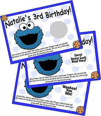 COOKIE MONSTER SCRATCH OFF OFFS PARTY GAME CARDS BIRTHDAY GAMES FAVORS