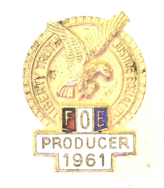 Antique Gold Filled Fraternal Order of Eagles FOE Lapel Pin Producer 1961 #N963