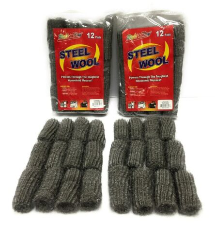 24 Pads Steel Wool Kitchen Bathroom Grill Wire Cleaning Ball Scouring